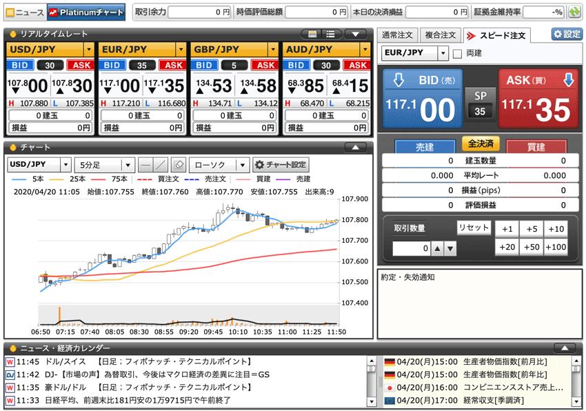 GMOクリック証券(くりっく365)のWeb版取引画面