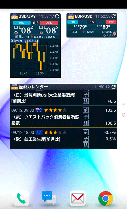 Android版はレート、チャート、経済カレンダーがウィジェットに対応。