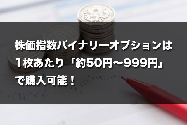株価指数バイナリーオプションは1枚あたり「約50円〜999円」で購入可能!