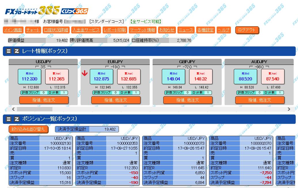 FXブロードネットのブラウザ版・取引画面