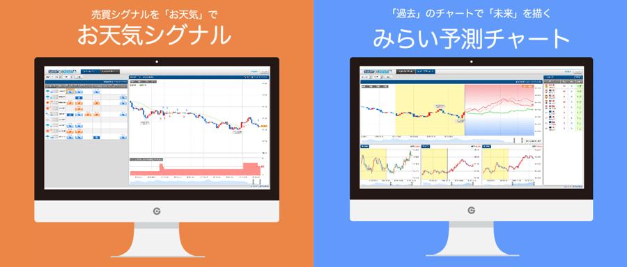 売買シグナルをお天気で「お天気シグナル」、過去のチャートで未来を描く「みらい予測チャート」