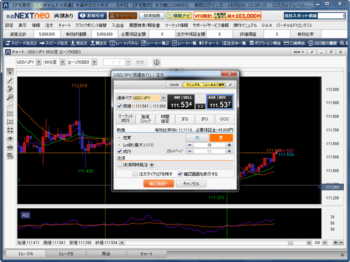 通貨ペア、注文方法、売買方向、Lot数などを設定したら「確認画面へ」をクリック。