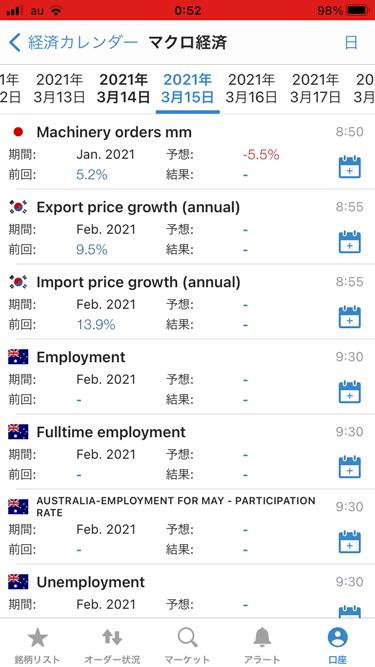 IG証券iPhoneアプリ版の経済カレンダー