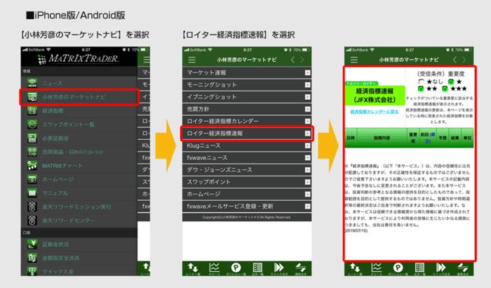 ロイター経済指標速報の使い方 iPhone版/Android版
