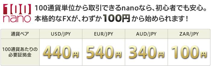 パートナーズFXnanoは100円から始められる