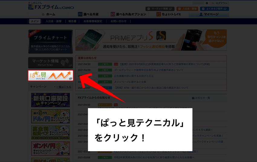 ぱっと見テクニカルをクリック!