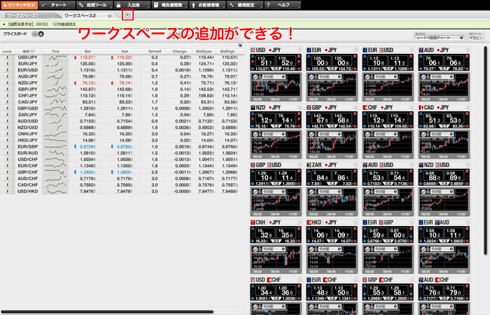 ワークスペースを追加すれば、複数タブでお好みの画面を設定できます。