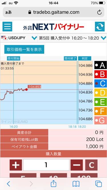 外貨ネクストバイナリーのiPhone版取引画面
