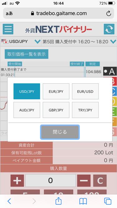 外貨ネクストバイナリーの取り扱い6通貨ペア