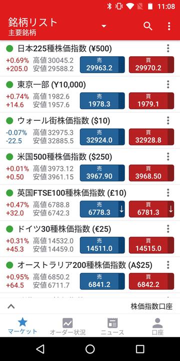 IG証券CFD口座|Android版の銘柄リスト