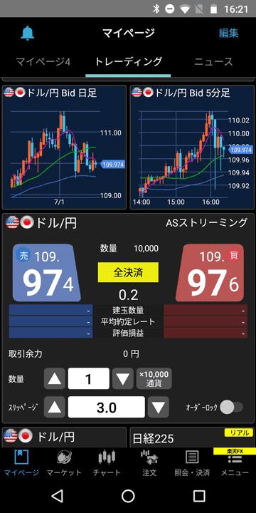 楽天証券Androidアプリ版のマイページ(トレーディング)