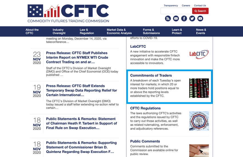 CFTCのトップページでCommitments of Tradersをクリック
