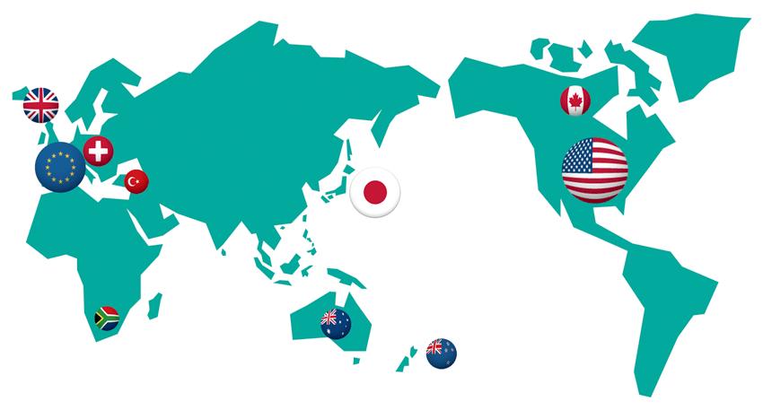 FXの主要国と取引量のイメージ