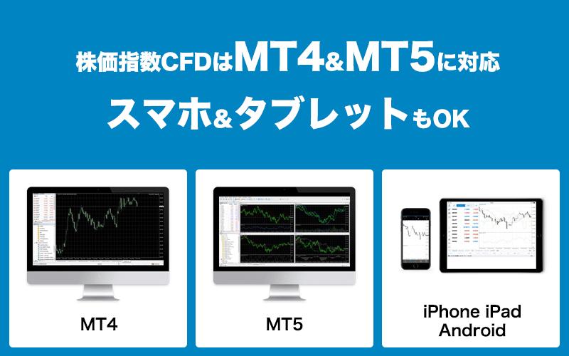 株価指数CFDはMT4&MT5に対応 スマホ&タブレットもOK