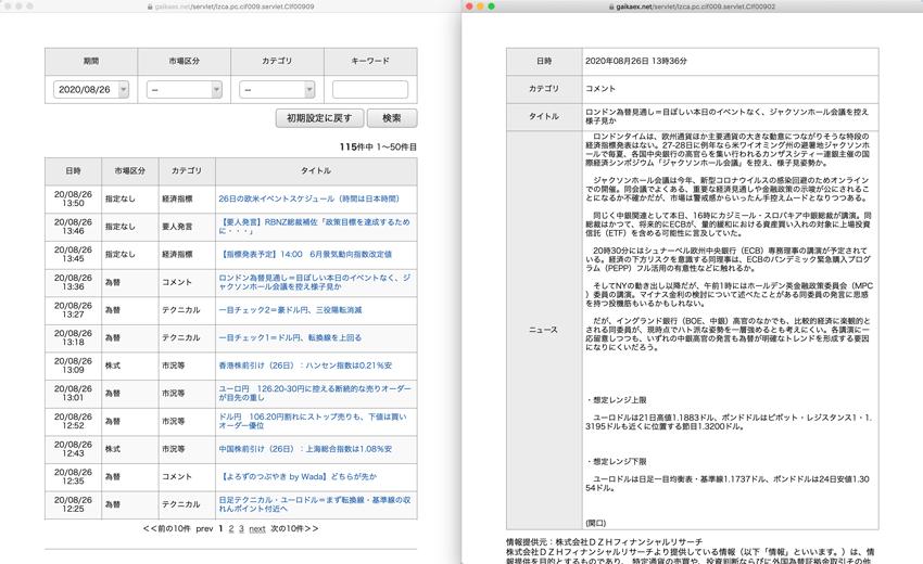 YJFX!のPC版マーケットニュース画面