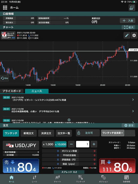 外貨ex byGMO iPadアプリのホーム画面