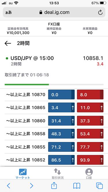 通貨ペアまたは設定条件価格をタップ