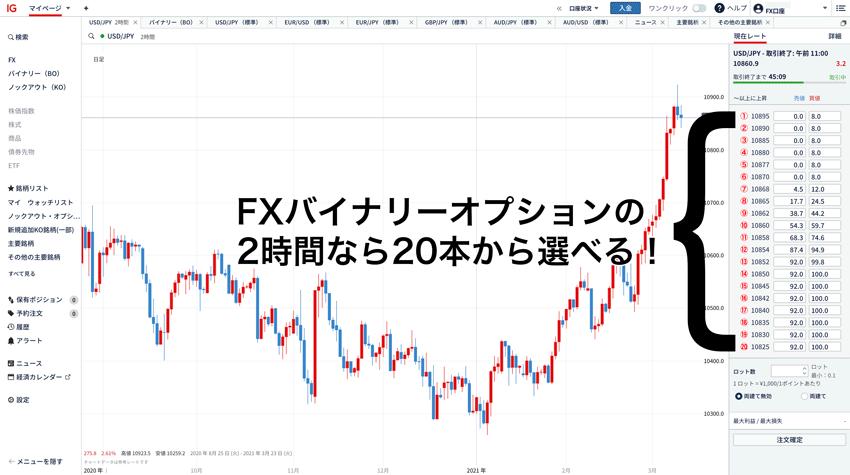 FXバイナリーオプションの2時間は権利行使価格を20チョイスから選べる