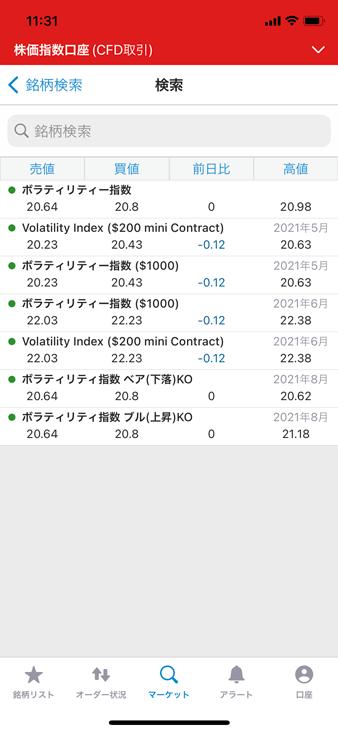 IG証券スマホアプリのVIX銘柄