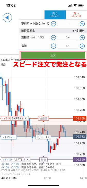 IG証券のアプリでチャート発注する方法②