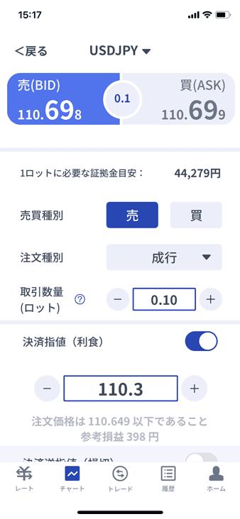 ゴールデンウェイ・ジャパン(FXTF)のデモトレードアプリGXの注文画面