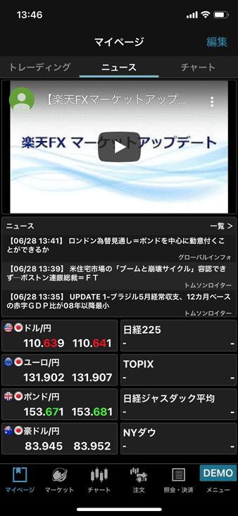楽天FXのデモアプリ「iSPEED FX」のニュース