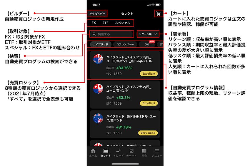 マートフォンアプリ「トライオート」セレクトの機能