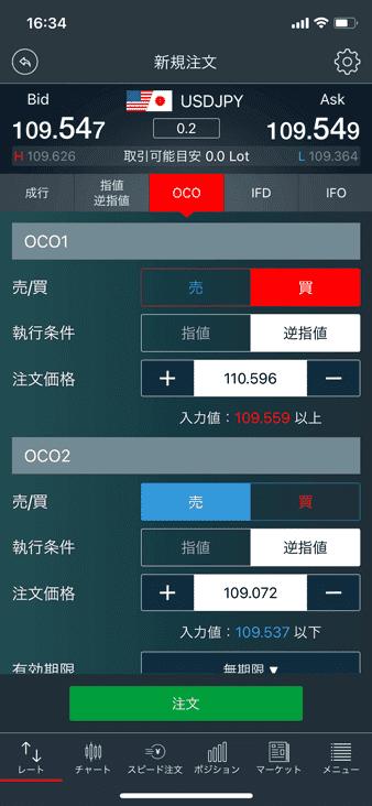 OCO注文の発注画面(みんなのFX)