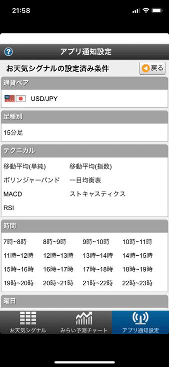 アプリ通知設定(お天気シグナル)