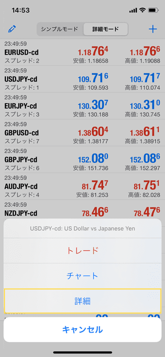 スワップを見るには気配値の通貨ペアから詳細をタップ