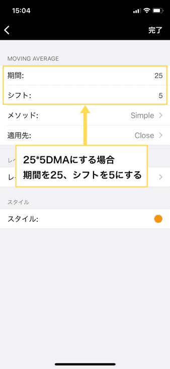 25*5DMAなら期間を25、シフトを5にする