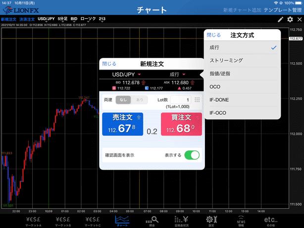 iPadアプリ版LION FXの新規注文画面。シンプルなので、操作に迷うことなく発注ができる。